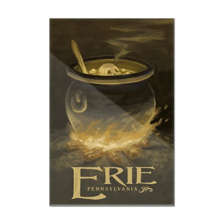 Erie, Pennsylvania - Cauldron - Halloween Oil Painting - Lantern Press Artwork (8x12 Acrylic Wall Art Gallery Quality)