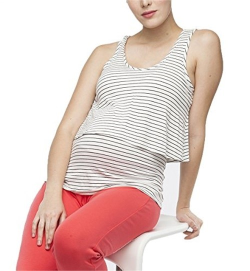 Belabumbum New Mama Essentials Maternity/Nursing Layered Cami,Small,Black Stripe