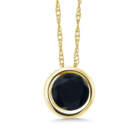 - 0.70 Ct Round Black Onyx 14K Yellow Gold Pendant With Chain
