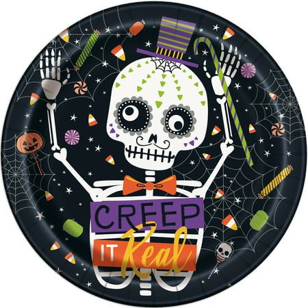 Skeleton Trick or Treat Halloween Paper Plates, 9 in, 8ct (Popular Halloween Treats)