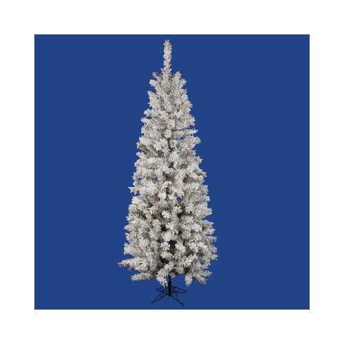 Vickerman Flocked Pacific Pine 7.5' White Artificial Pencil Christmas Tree with 275 Multicolored LED Lights with Stand