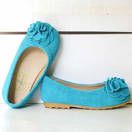 Boutique Rosette - Foxpaws Turquoise Boutique Suede Rosette Kate Shoes Toddler Girls 6-10