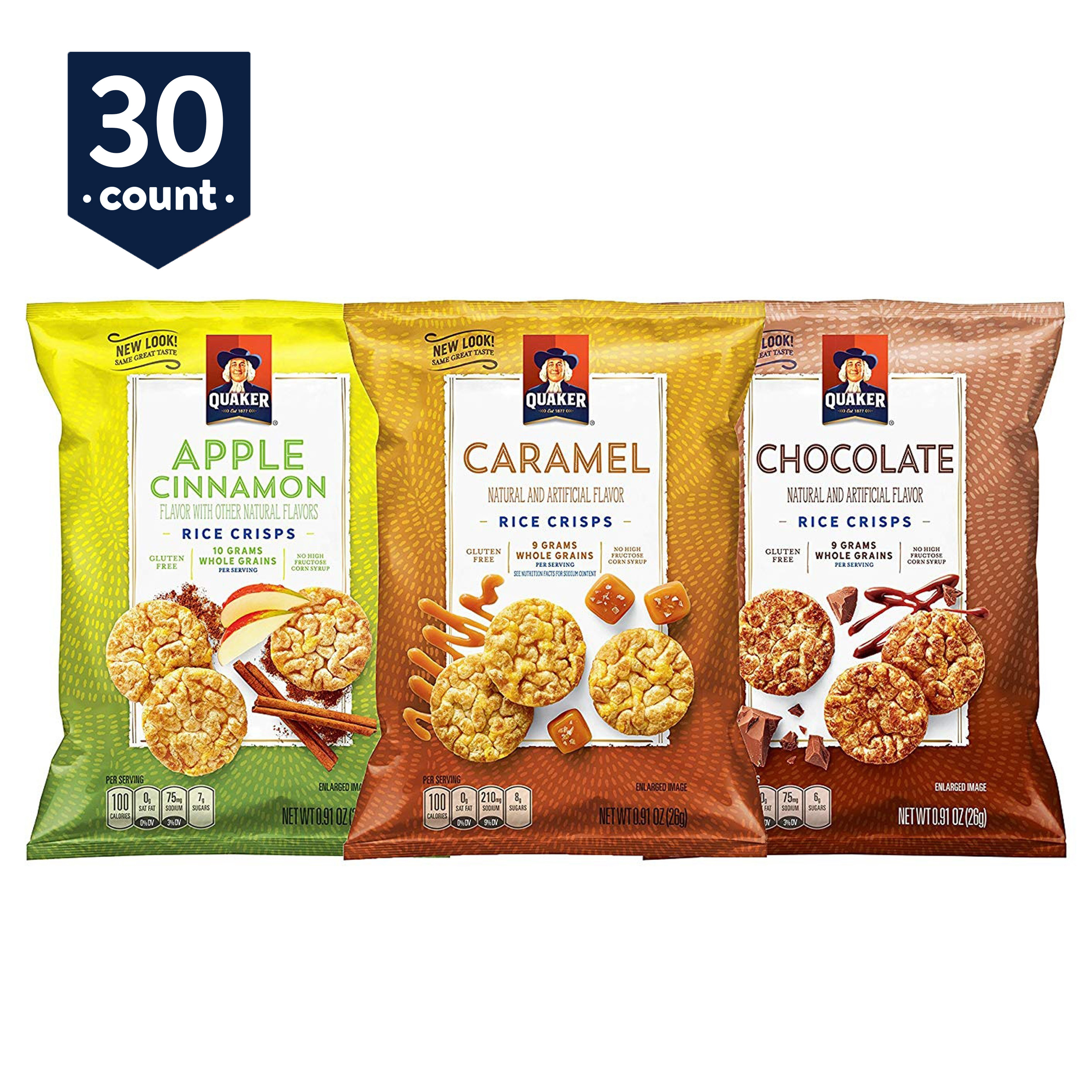 Quaker Rice Crisps Variety Pack, 0.91 oz Bags, 30 Count