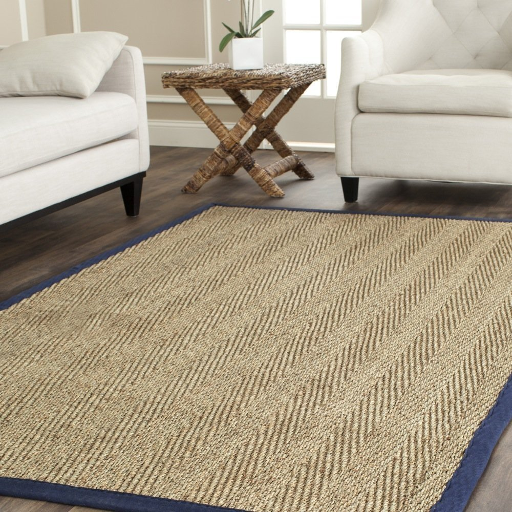 Safavieh Natural Fiber Collection NF115E Herringbone Natural and Blue Seagrass Area Rug (4' x 6')