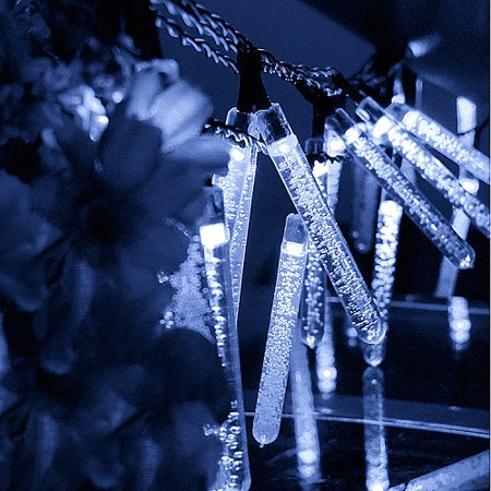 Christmas Solar lights Decorative Outdoor LED String Lights 6M 30 LED Icicle Fairy String Lights for Garden Bedroom Christmas Party Wedding Decorative (Cold White) - Halloween Icicle Lights Outdoor