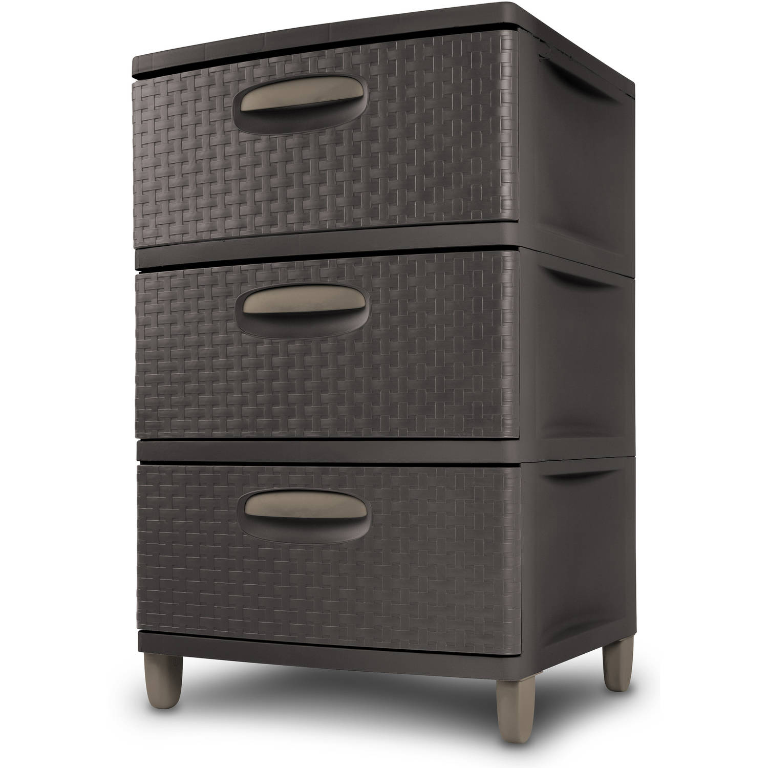 Sterilite 3 Weave Drawer Storage Unit, Espresso