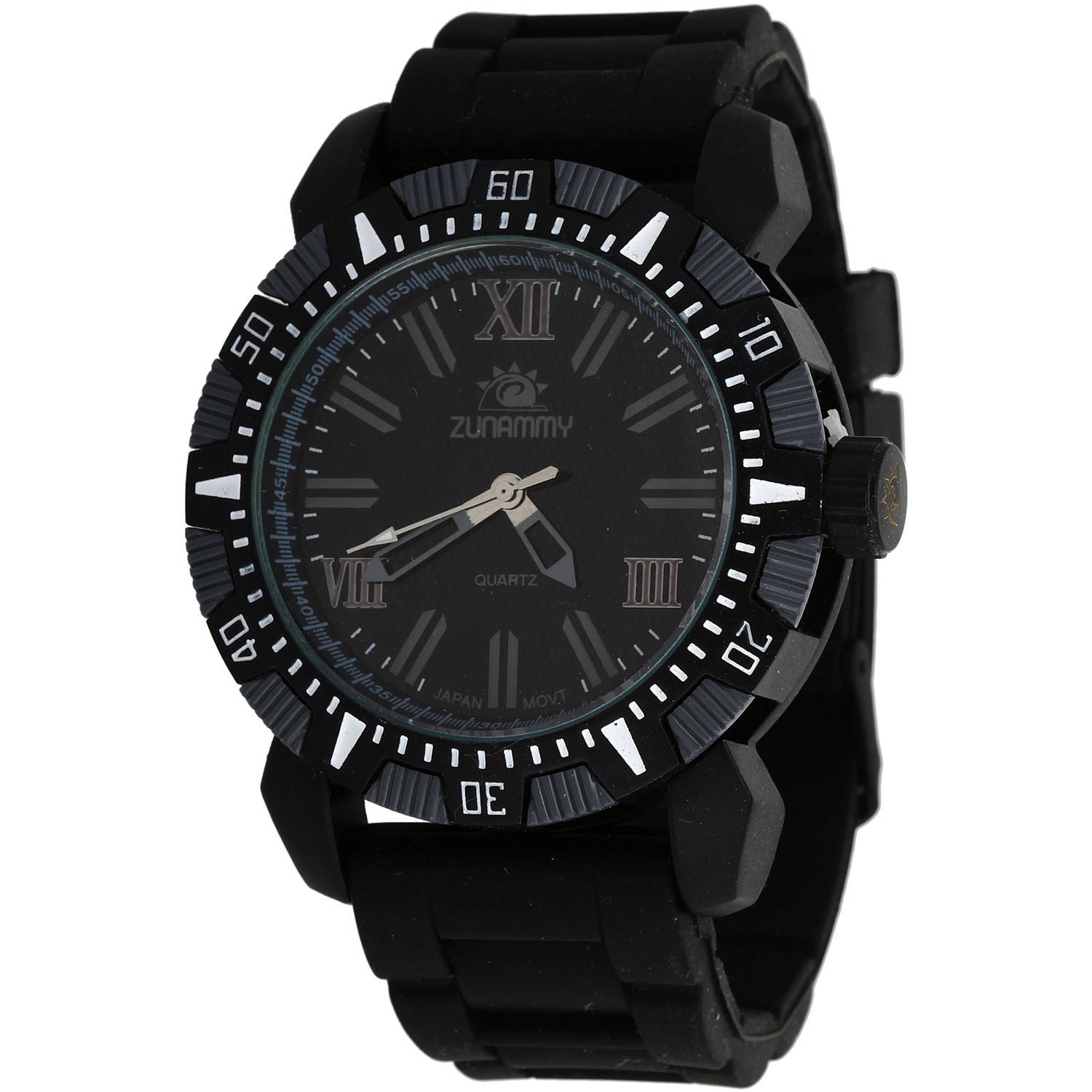 Zunammy Men's Sport and Fashion Watch, Black Rubber Strap