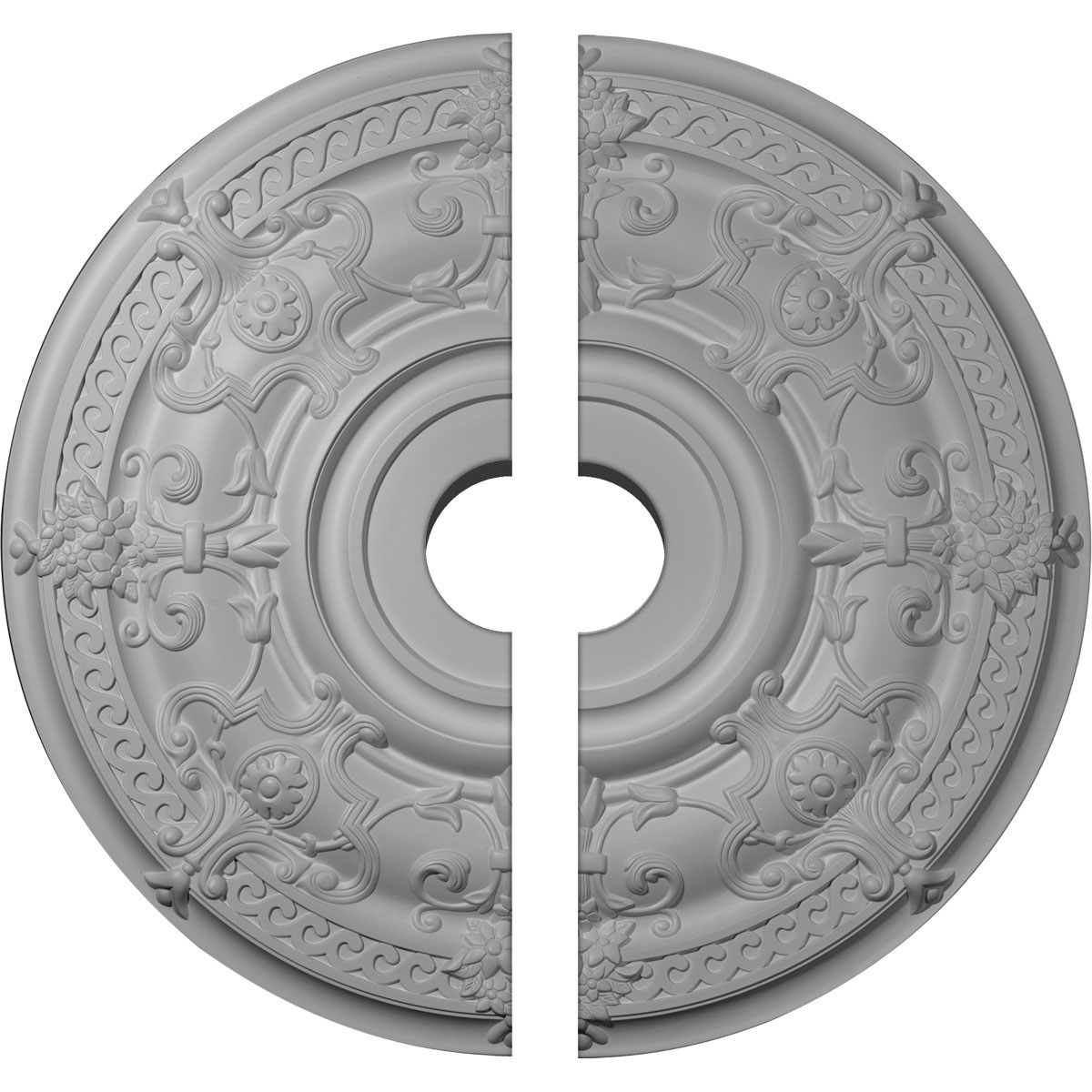 """33 7/8""""OD x 6""""ID x 1 3/8""""P Dauphine Ceiling Medallion, Two Piece (Fits Canopies up to 13 1/4"""")"""