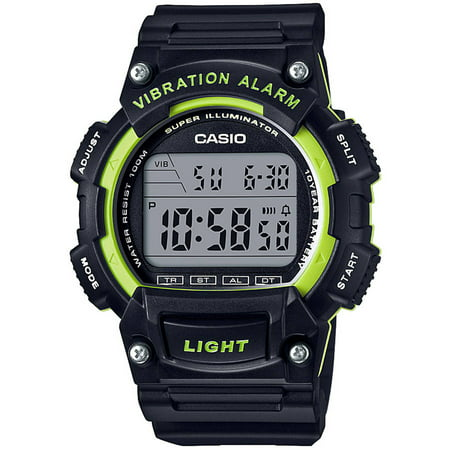 Casio Men's Sport Digital Watch with Vibration Alarm, Black/Green ()