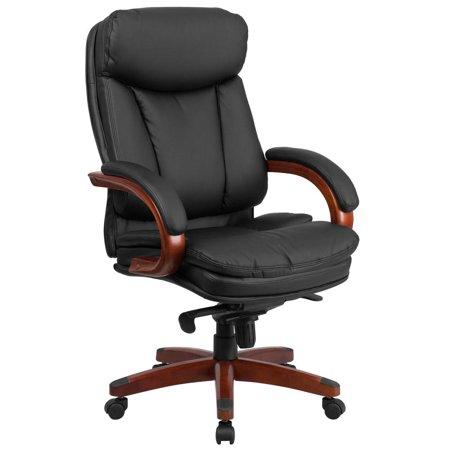 High Back Black Leather Executive Ergonomic Office Chair with Synchro-Tilt Mechanism, Mahogany Wood Base and Arms Base Black Leather Mahogany Frame