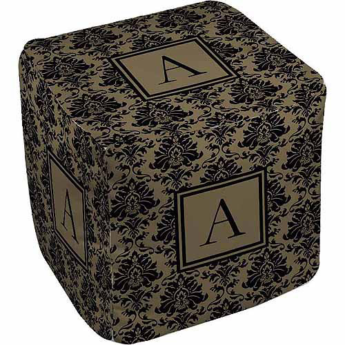Thumbprintz Damask Monogram Pouf, Black and Gold