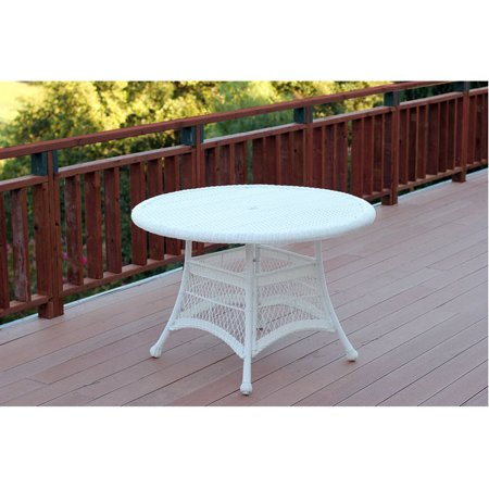 Outdoor 44 Quot Resin Wicker Round Patio Dining Table By Jeco