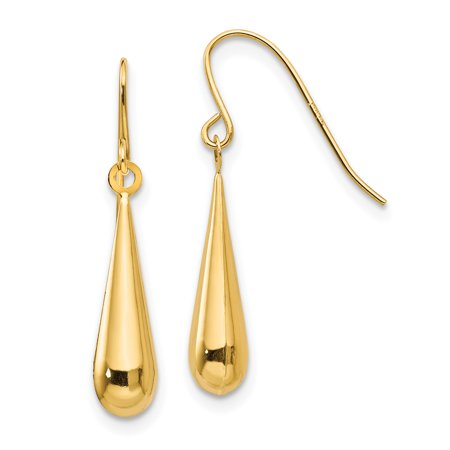 14k Yellow Gold Teardrop Drop Dangle Chandelier Earrings Fine Jewelry For Women Gift Set ()