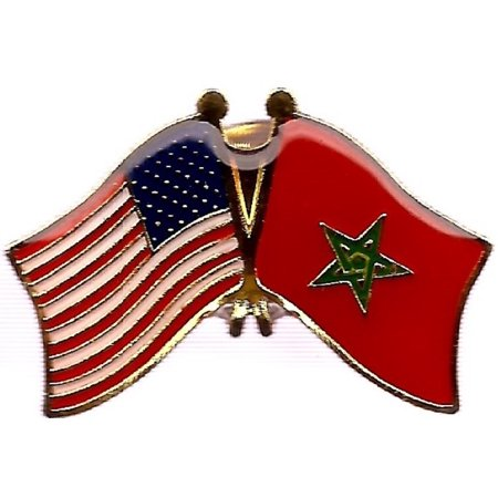 PACK of 3 Morocco & US Crossed Flag Lapel Pins, Moroccan & American Friendship Pin (American Flag Lapel Pin With Black Dot)