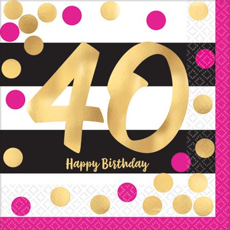 Over the Hill 'Hot Pink and Gold' 40th Birthday Small Napkins (16ct)