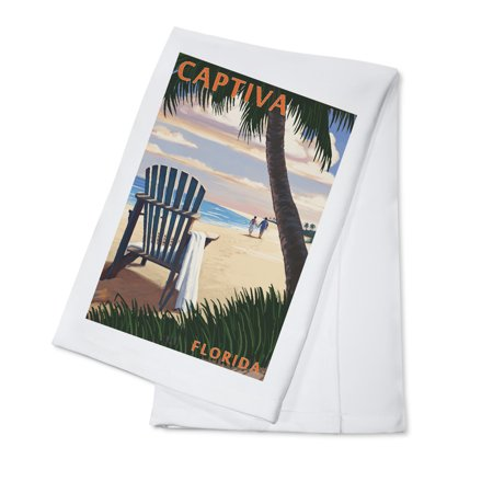 Captiva, Florida - Adirondack Chair on the Beach - Lantern Press Poster (100% Cotton Kitchen Towel)