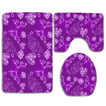 XDDJA Purple Butterflies 3 Piece Bathroom Rugs Set Bath Rug Contour Mat and Toilet Lid Cover - image 2 de 2