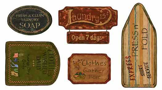 879504 Laundry Signs Appliques CT1973M by York Wallcoverings Inc