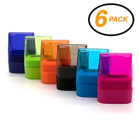 Emraw Single Hole Pencil Sharpener w/Rectangular Receptacle to Catch Shavings for Regular/Oversize Pencils/Crayons in Blue/Green/Pink/Orange/Purple & Black Great for School Home & Office 6-Pack](Handheld Pencil Sharpener)