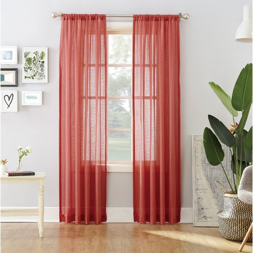 No. 918 Millennial Hyannis Solid Sheer Rod Pocket Single Curtain Panel