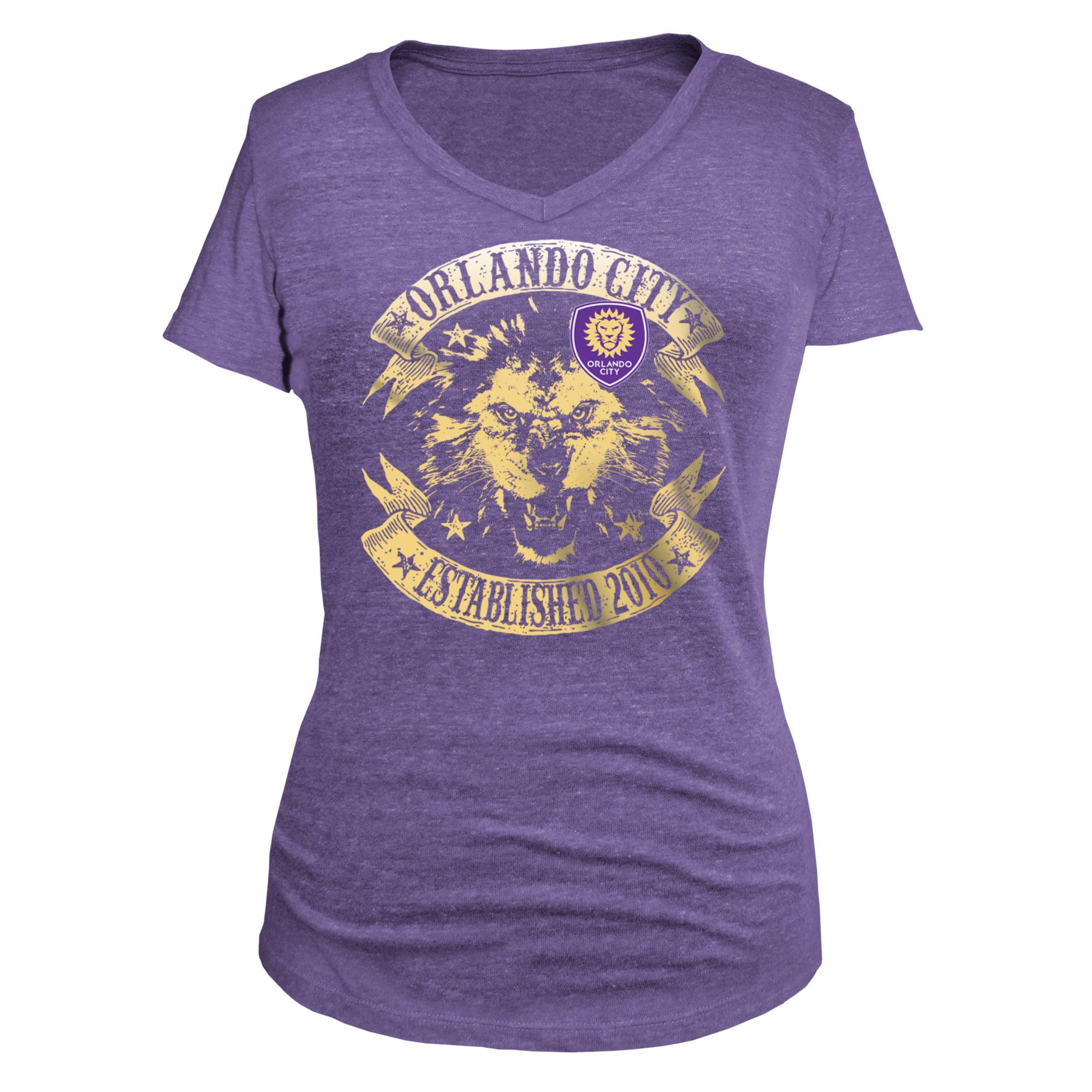 Orlando City SC 5th & Ocean by New Era Women's Tri-Blend V-Neck T-Shirt - Purple