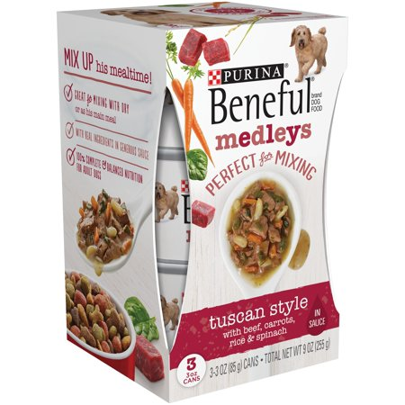 (8 Pack) Purina Beneful Medleys Tuscan Style With Beef, Carrots, Rice & Spinach Adult Wet Dog Food - (3) 3 oz. Cans