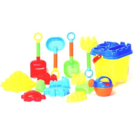 JustForKids Beach Toys For Kids with Reusable Mesh Bag Castle Bucket Sand Mold, 16-Piece - Walmart Sand Toys