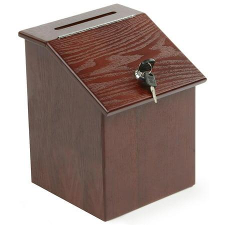 (Displays2go Wood Suggestion Box with Hinged Door and Side Pocket, MDF & Mahogany Wood Veneer- 8x10x8.5 Inches)