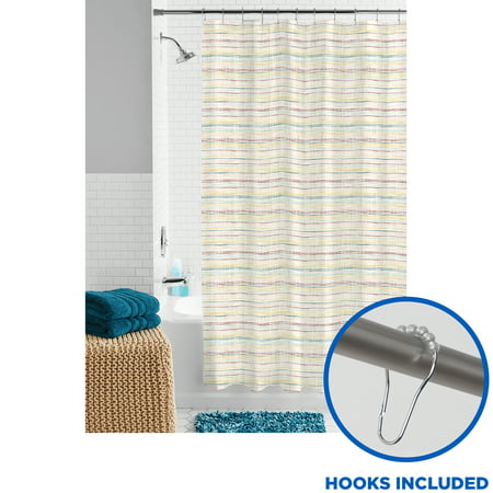Multicolor Fabric Bathroom Set, 13-Piece Shower Curtain and Hooks, Mainstays Stitching Striped Pattern