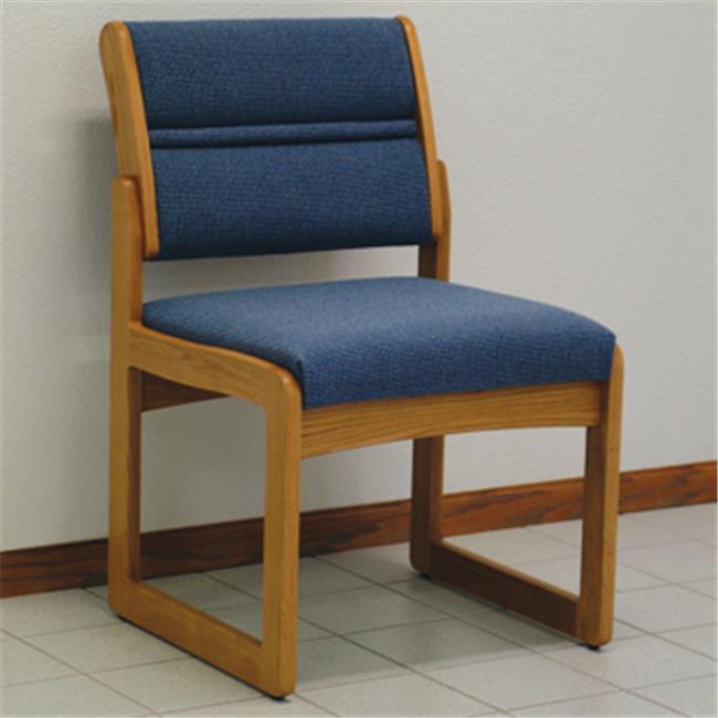 Wooden Mallet DW2-1DMOLB Valley Armless Guest Chair in Medium Oak - Leaf Blue