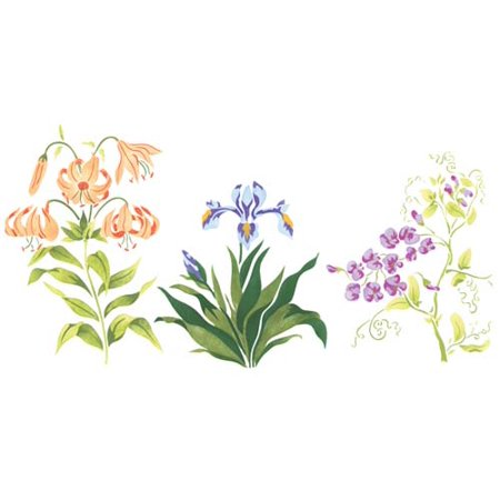 Smaller Lily Mix of Flowers Wall Stencil SKU #1902 by Designer Stencils