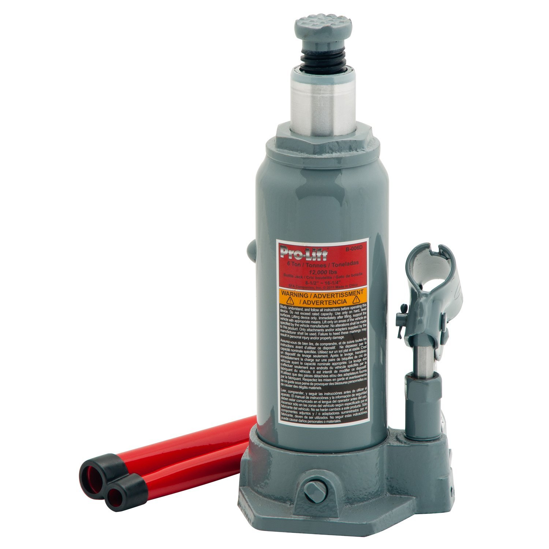 Pro-Lift B-006D Grey Hydraulic Bottle Jack, 6 Ton Capacity