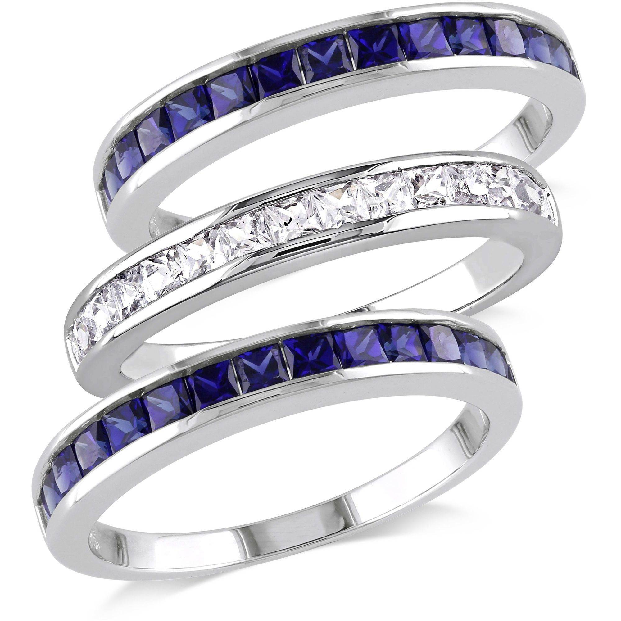 Tangelo 2-1 4 Carat T.G.W. Created Blue and White Sapphire Sterling Silver Three-Piece Anniversary Semi-Eternity... by Tangelo