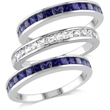2-1/4 Carat T.G.W. Created Blue and White Sapphire Sterling Silver Three-Piece Anniversary Semi-Eternity Stackable Ring Set (Sapphire Medium Stackable Ring)