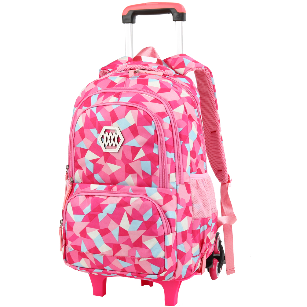 Vbiger Little Girl Wheeled Backpack Adorable Rolling Daypack Large-capacity Trolley School Bag Travel Rolling Backpacks for Primary School Students