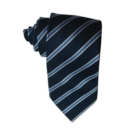 James Cavolini Italy Double Blue Striped Neck Tie Blue Stripe Italian