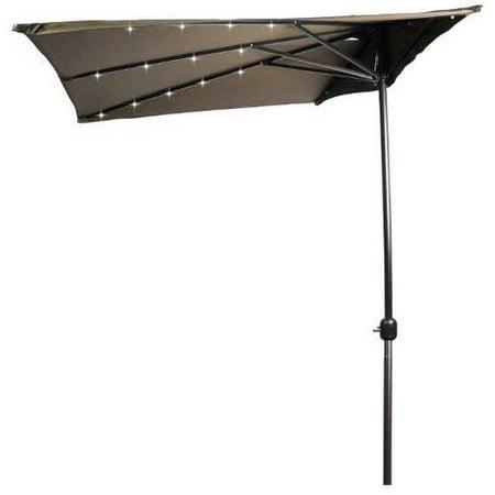 Trademark Innovations 5 Led Rectangular Patio Half Umbrella  Tan