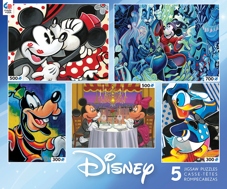 Disney 5-in-1 Jigsaw Puzzle Multi-Pack Classic Disney, 2 x 300, 2 x 500, 1 x 750pc by Ceaco