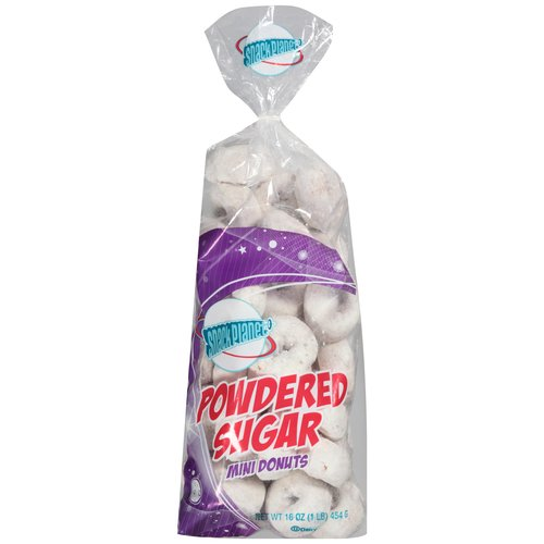 Snack Planet Powdered Sugar Mini Donuts, 16 oz.