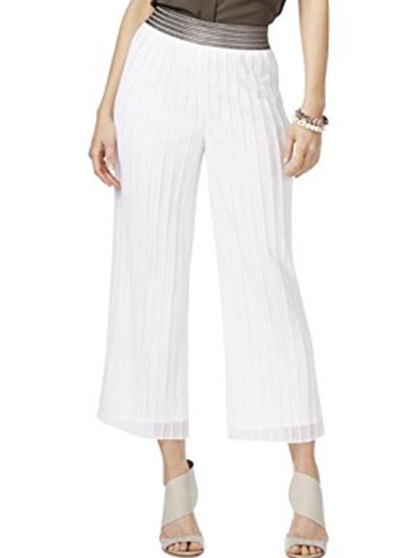 Alfani Petite Metallic Waist Culottes Gaucho Pants, Bright White, Size L