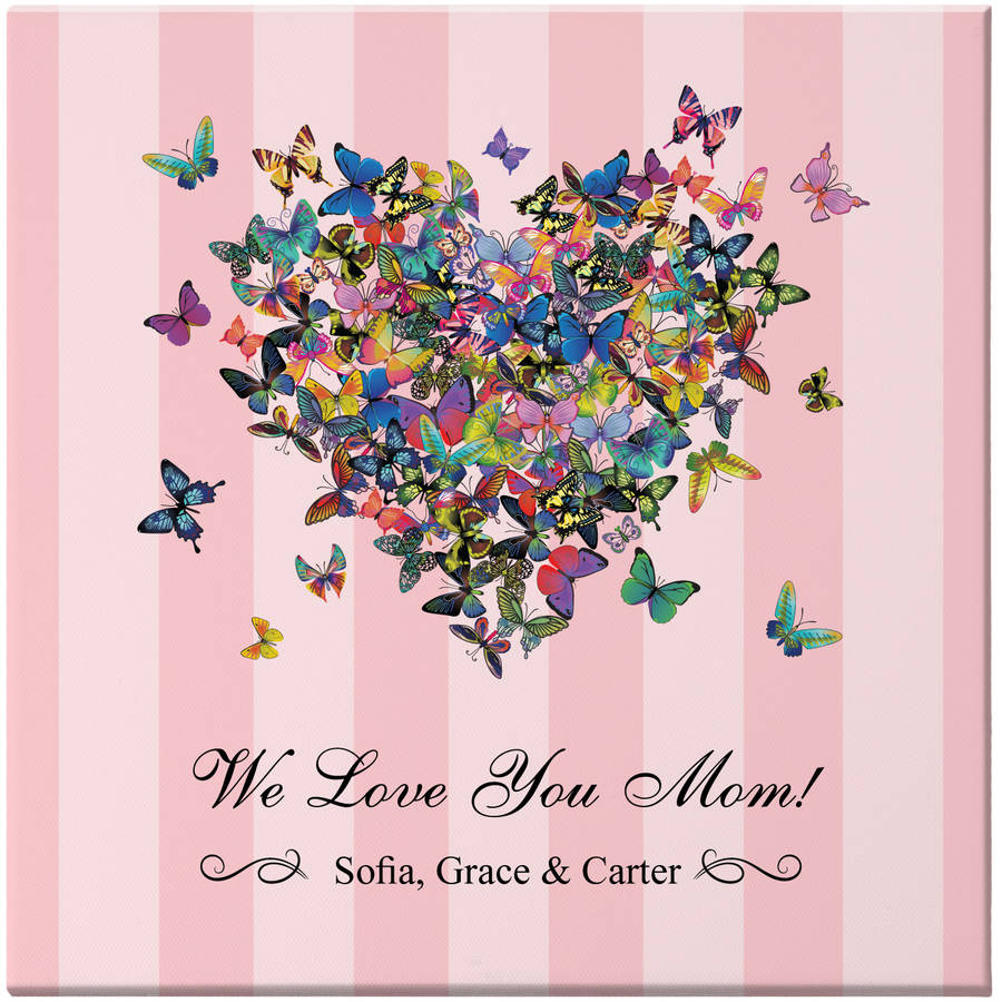 Personalized Hearts a Flutter Canvas, Available in 2 Sizes