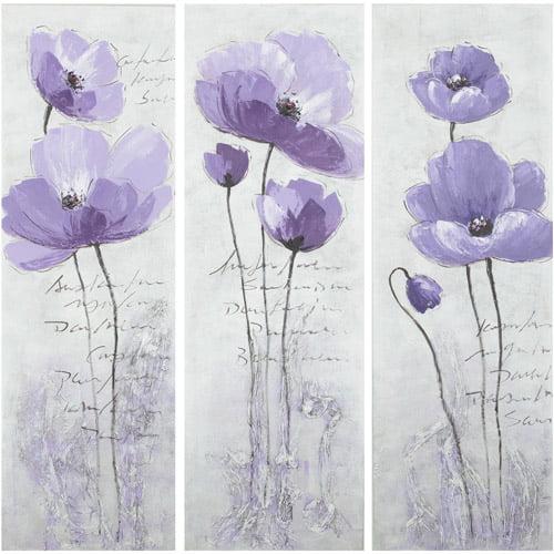 Safavieh 3-Piece Purple Poppy Painting