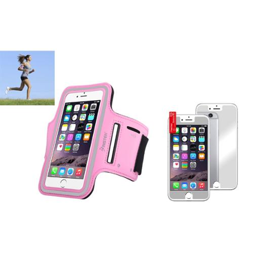 Insten Pink Running Gym Armband Sportband Case+Mirror Protector For iPhone 6 6S 4.7""