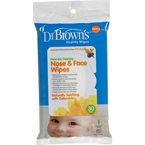 Dr. Brown's Nose and Face Wipes, 30-Pack