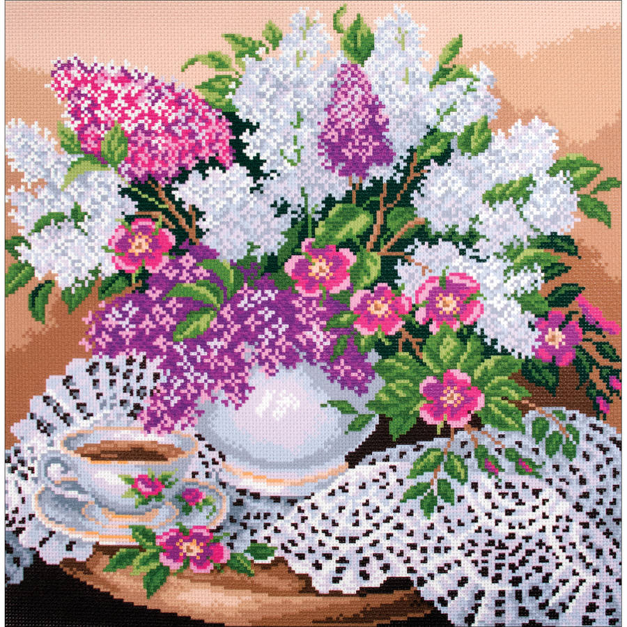 Collection D'Art Stamped Cross Stitch Kit, 41cm x 41cm, Lilac's In Vase