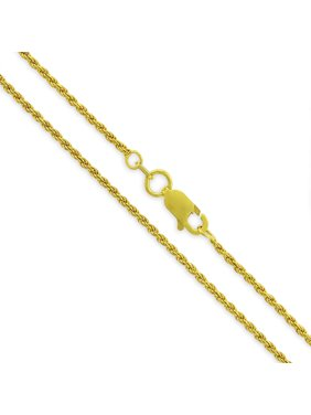 2feef8081f6bc Product Image Sterling Silver Italian 1.5mm Rope Diamond-Cut Link Solid 925  Yellow Gold Plated Twisted