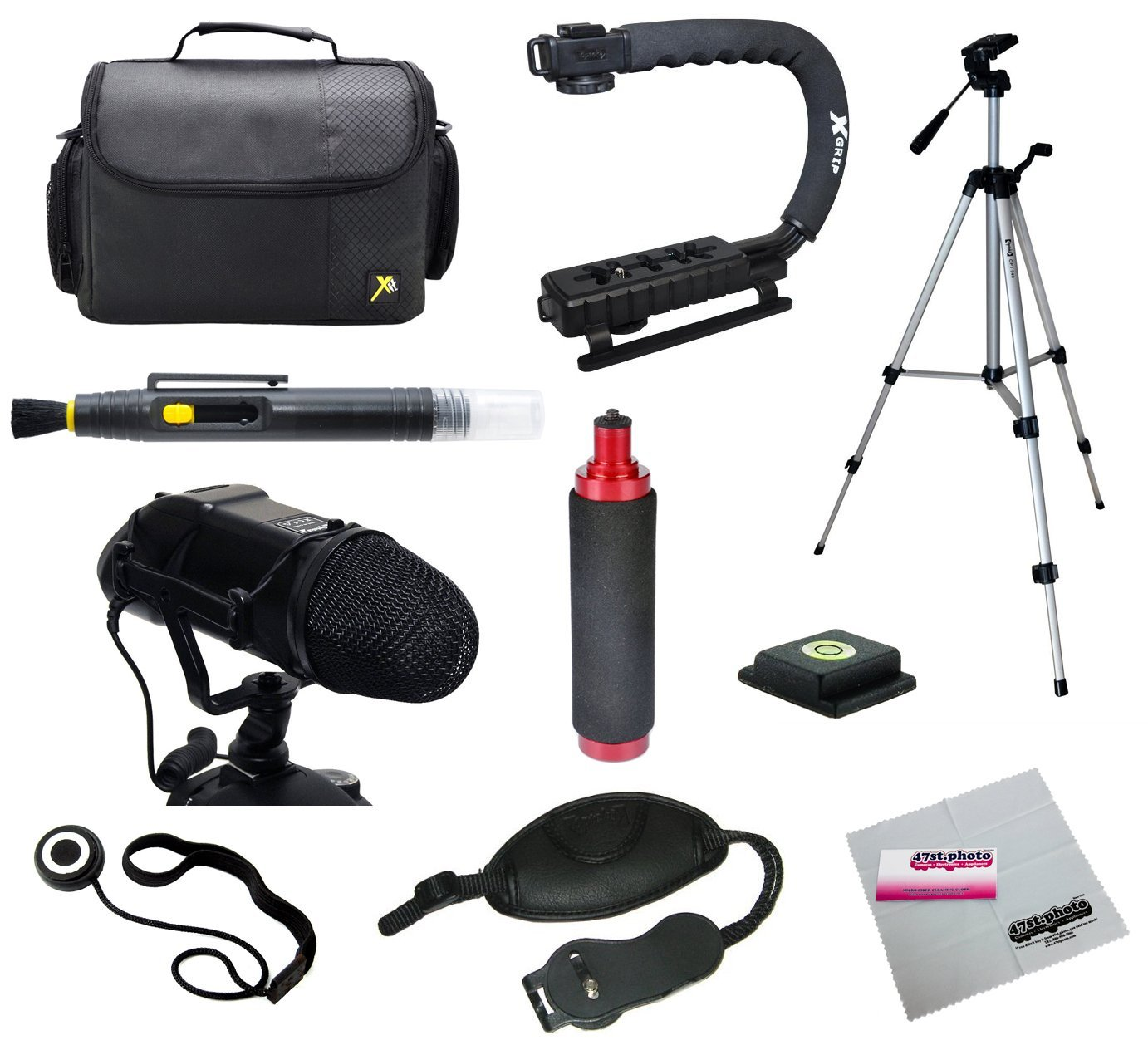 Opteka Videographers Deluxe Kit with VM-200 Microphone, Case, Tripod, X-Grip and More for Canon, Nikon, Sony and Pentax Digital SLR Cameras