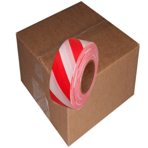 12 Roll Case of Red and White Safety Striped Flagging Tape 1 3/16 inch x 300 ft Non-Adhesive
