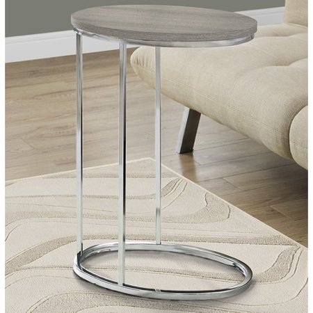 12' Oval Metal Diamond - Monarch Accent Table Oval / Dark Taupe With Chrome Metal
