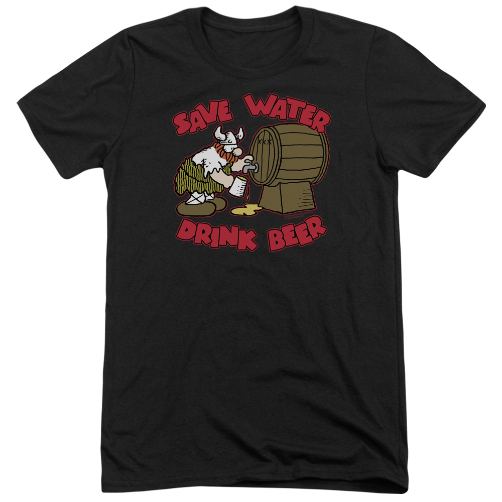 Hagar The Horrible Save Water Drink Beer Mens Tri-Blend Short Sleeve Shirt